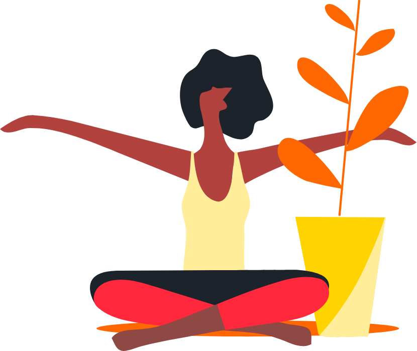 Reading campus yoga illustration