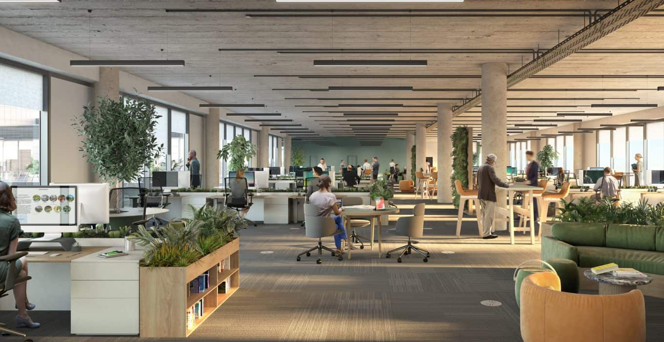Indicative CGI view of creative office fit out at Campus Reading