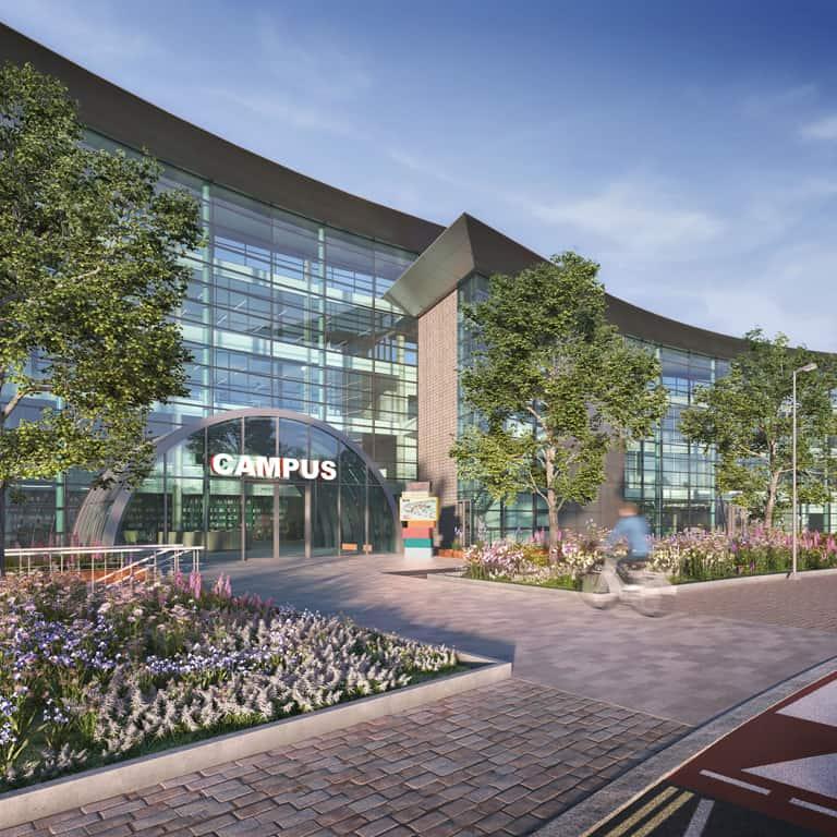 CGI of exterior at Reading International Campus