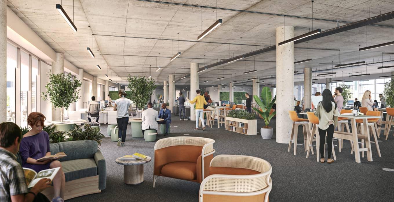 CGI of office floor at Campus