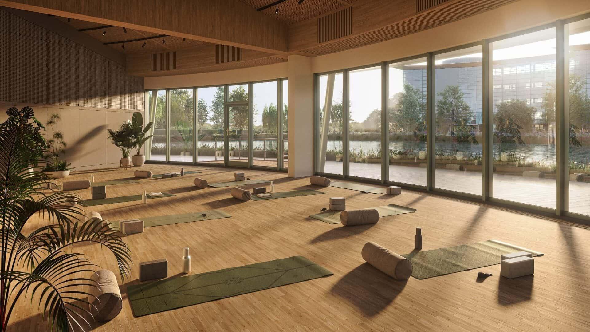 CGI of yoga studios at Reading International Campus